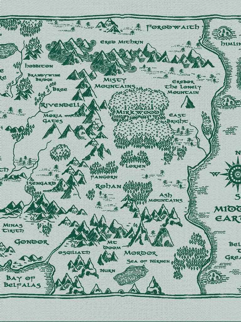 Oscha Ring Sling - Map of Middle Earth There and Back Again - Rechte  Schulter - Highland Pleat Silver Rings