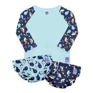 Produktbild SWSET NAU Bambino Mio Schwimm Set Nautisch_Produkt enthaelt 1 Shirt und 2 Hoeschen bunt in blautoenen