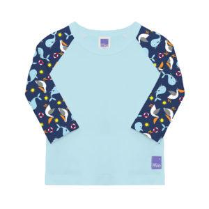 Produktbild SWT NAU Bambino Mio Schwimm-Shirt_Nautisch Grundfarbe hellblau und bunten Aermeln