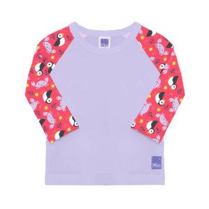 Produktbild SWT NIC Bambino_Mio_Schwimm-Shirt_Schoen Grundfarbe flieder und bunten Aermeln