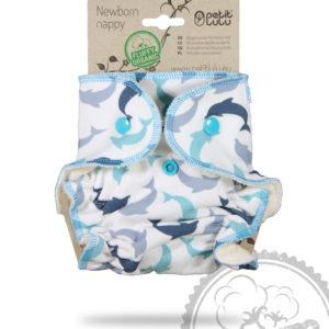 Produktbild 101824 Petit Lulu Hoeschenwindel Neugeborene-Organic- Delfin in Blautoenen