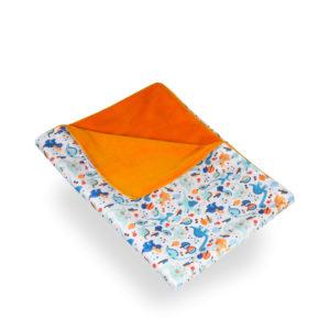 Produktbild 101850 Dinos-Wickelunterlage-petit-lulumit blau-tuerkisen Dinos Rueckseite orange