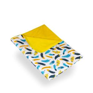 Produktbild 101852 Federn-Wickelunterlage-petit-lulubedruckt mit bunten Federn Rueckseite gelb