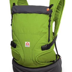 Produktbild Ruckeli_Babytrage_Green_Apple__Web1400x Grundfarbe gruen und dunkelgrauen Applikationen