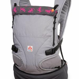 Produktbild Ruckeli_Babytrage_Kanga__Web1400x Grundfarbe grau und pinkfarbenen Motiven