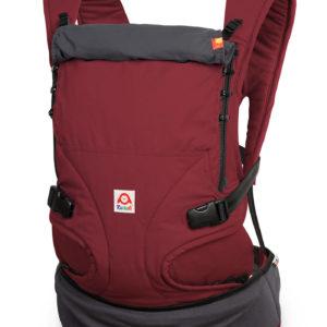 Produktbild Ruckeli_Babytrage_Red_Pear__Web1400x Grundfarbe rot mit dunkelgrauen Applikationen