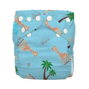 Produktbild Charlie Banana-sophie la Girafe-OS_Sophie Coco Blue Windel in blau mit Palmen und Giraffen